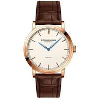 Stuhrling Original Men's Quartz Symphony Brown Leather Strap Watch