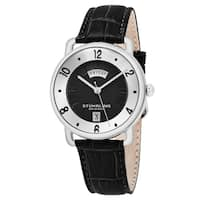 Stuhrling Original Men's Quartz Black Leather Strap Watch