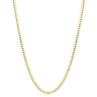 Luxurman 10K Yellow Gold 8 mm Italy Cuban Curb Chain Necklace