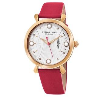Stuhrling Original Women's Quartz Genuine Pearls Vogue Pink Leather Strap Watch