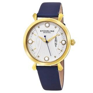Stuhrling Original Women's Quartz Genuine Royal Blue Leather Strap Watch
