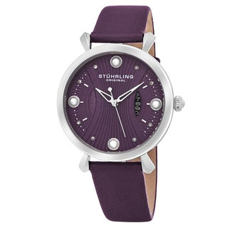 Stuhrling Original Women's Quartz Genuine Pearls Vogue Purple Leather Strap Watch
