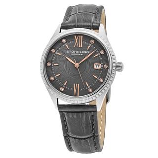 Stuhrling Original Women's Quartz Crystal Symphony Gray Leather Strap Watch