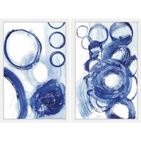 Painted Blue Cirlces Diptych - Multi