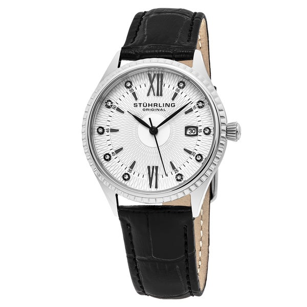 Stuhrling Original Women's Quartz Crystal Symphony Black Leather Strap Watch