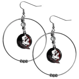 Collegiate Florida St. Seminoles Chrome Rhinestone 2-inch Hoop Earrings