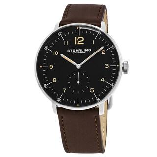 Stuhrling Original Men's Quartz Monaco Brown Leather Strap Watch