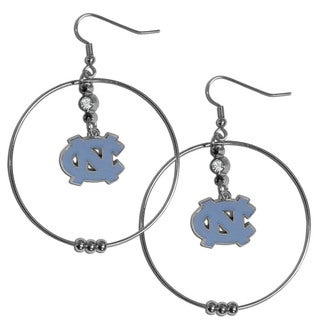 Collegiate N. Carolina Tar Heels Chrome Rhinestone 2-inch Hoop Earrings