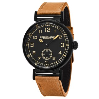 Stuhrling Original Men's Quartz Avaitor Tan Leather Strap Watch