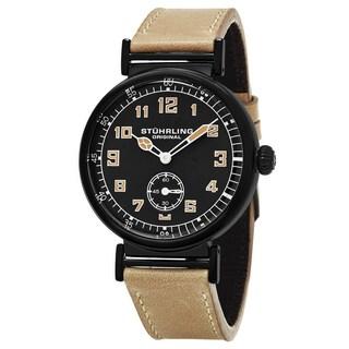 Stuhrling Original Men's Quartz Avaitor Brown Leather Strap Watch