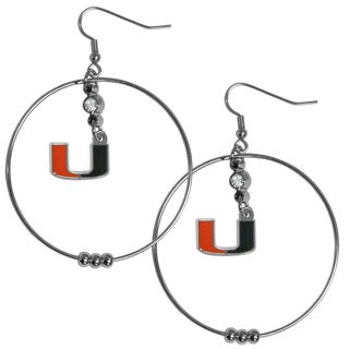 Collegiate Miami Hurricanes Chrome Rhinestone 2-inch Hoop Earrings
