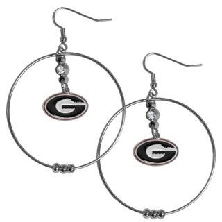 Collegiate Georgia Bulldogs 2-inch Hoop Earrings