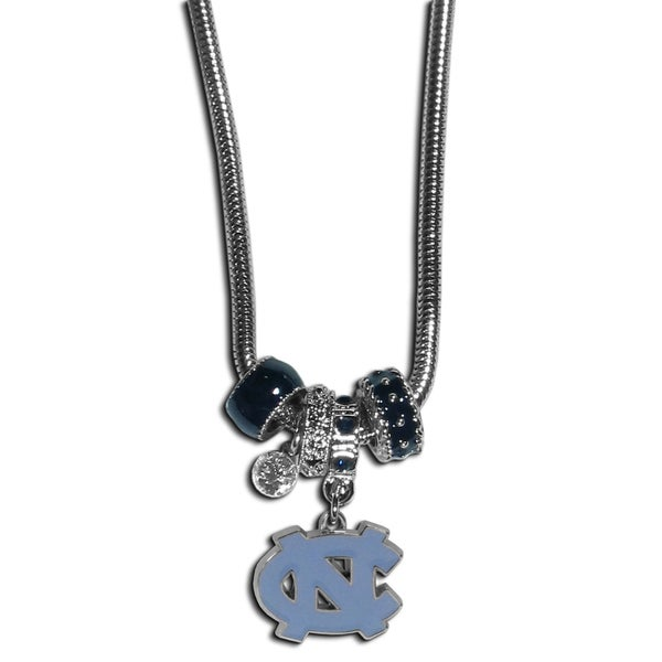 Collegiate North Carolina Tar Heels Euro Bead Necklace