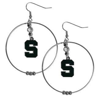 Collegiate Michigan St. Spartans Chrome Rhinestone 2-inch Hoop Earrings