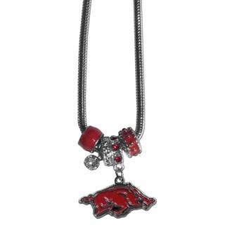 Collegiate Arkansas Razorbacks Euro Bead Necklace