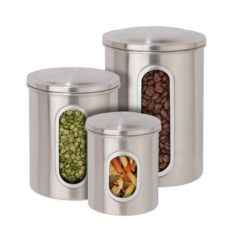 Honey-Can-Do Steel Canister Set - 3pc SS