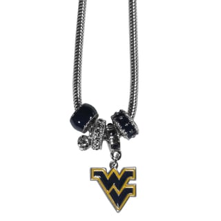 Collegiate West Virginia Mountaineers Euro Bead Necklace
