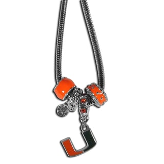 Collegiate Miami Hurricanes Euro Bead Necklace