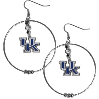 Collegiate Kentucky Wildcats Chrome and Enamel 2-inch Hoop Earrings