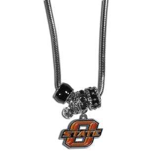 Collegiate Oklahoma State Cowboys Chrome and Enamel Euro Bead Necklace