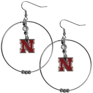 Collegiate Nebraska Cornhuskers Chrome Rhinestone 2-inch Hoop Earrings