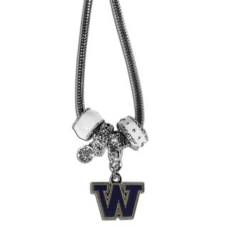 Collegiate Washington Huskies Chrome and Enamel Euro Bead Necklace
