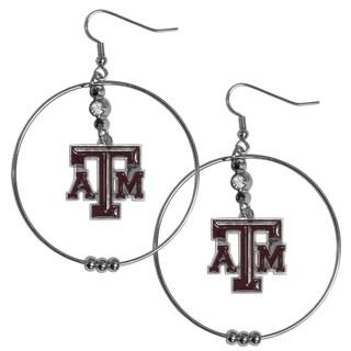 Collegiate Texas A M Aggies Chrome and Enamel 2-inch Hoop Earrings