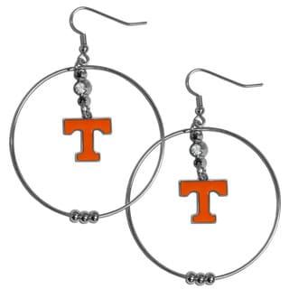 Collegiate Tennessee Volunteers Chrome Rhinestone 2-inch Hoop Earrings