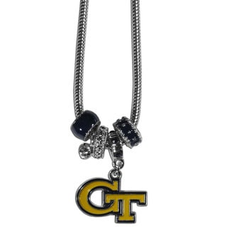 Collegiate Georgia Tech Yellow Jackets Chrome and Enamel Euro Bead Necklace