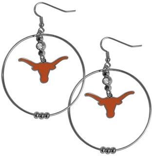 Collegiate Texas Longhorns Chrome Rhinestone 2-inch Hoop Earrings