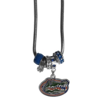 Collegiate Florida Gators Chrome and Enamel Euro Bead Necklace
