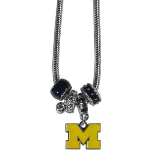 Collegiate Michigan Wolverines Chrome/Enamel Snake Chain Euro Bead Necklace