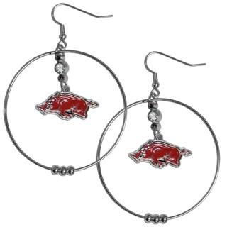 Collegiate Arkansas Razorbacks Chrome and Enamel 2-inch Hoop Earrings