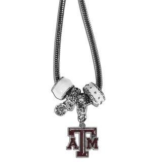 Collegiate Texas A M Aggies White Chrome Euro Bead Necklace