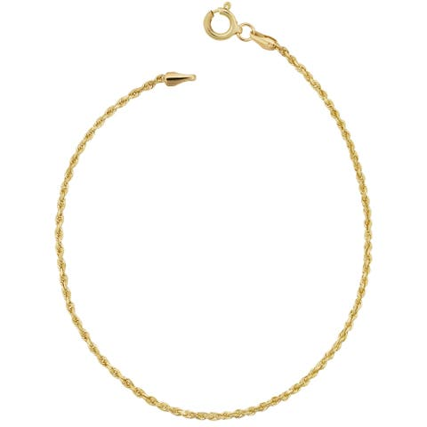 Fremada 10k Yellow Gold 1.5-mm Semi Solid Rope Chain Anklet (10 inches)