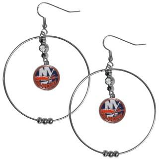 NHL New York Islanders Chrome and Enamel 2-inch Hoop Earrings