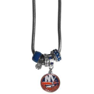 NHL New York Islanders Chrome and Enamel Euro Bead Necklace (Option: New York Islanders) https://ak1.ostkcdn.com/images/products/13474619/P20161261.jpg?impolicy=medium