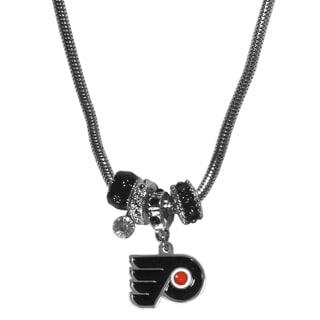 NHL Philadelphia Flyers Chrome and Enamel Euro Bead Necklace