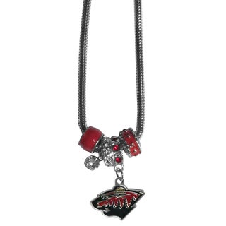 NHL Minnesota Wild Red Chrome Euro Bead Necklace