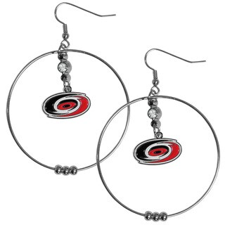 NHL Carolina Hurricanes Enamel Team Logo/High-polish Chrome/Rhinestone Accent 2-inch Hoop Earrings