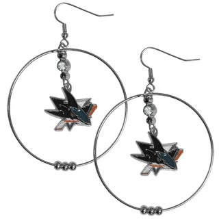NHL San Jose Sharks Chrome Rhinestone 2-inch Hoop Earrings