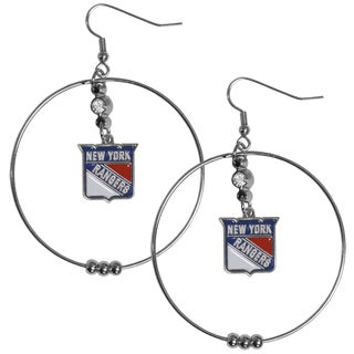NHL New York Rangers Chrome, Enamel, and Rhinestone 2-inch Hoop Earrings