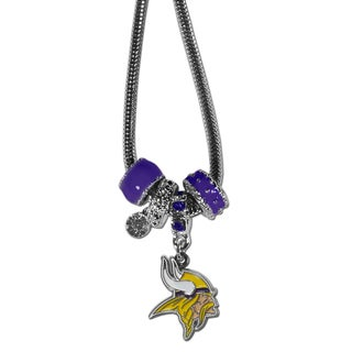 NFL Minnesota Vikings Chrome and Enamel Euro Bead Necklace