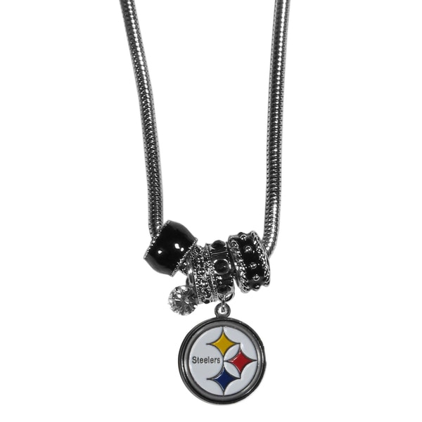 NFL Pittsburgh Steelers Chrome and Enamel Euro Bead Necklace