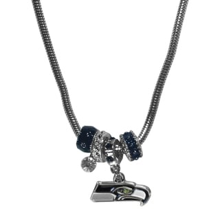 NFL Seattle Seahawks Chrome and Enamel Euro Bead Necklace