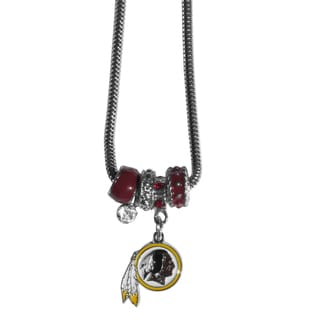 NFL Washington Redskins Chrome and Enamel Euro Bead Necklace
