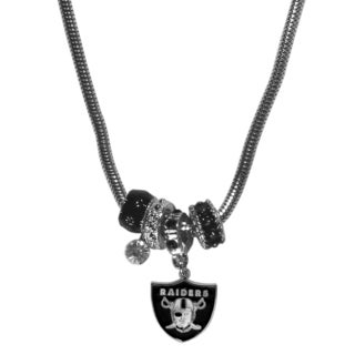 NFL Oakland Raiders Chrome and Enamel Euro Bead Necklace