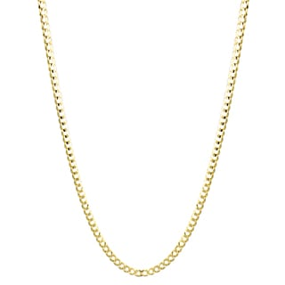 Luxurman 10K Yellow Gold 3 mm Italy Cuban Curb Chain Necklace