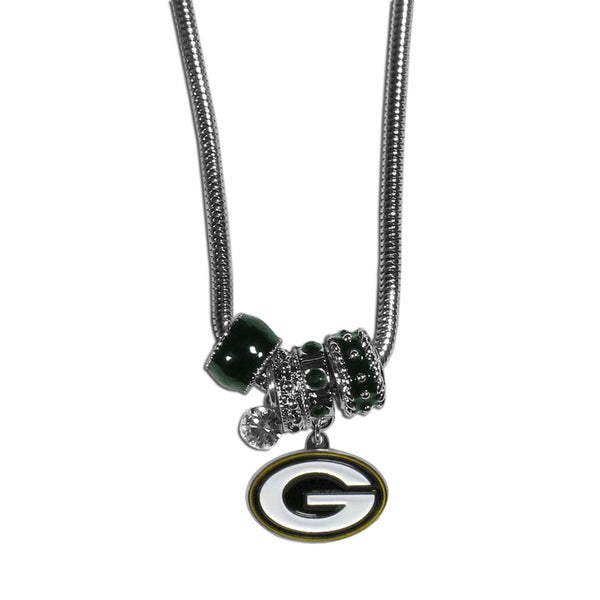NFL Green Bay Packers Chrome Euro Bead Necklace