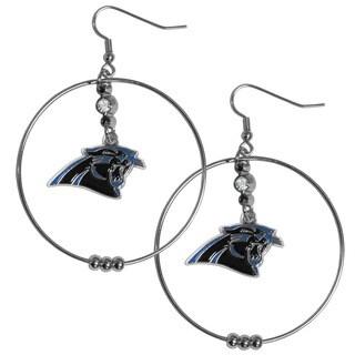 NFL Carolina Panthers Chrome Rhinestone 2-inch Hoop Earrings